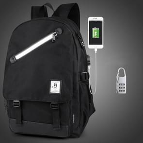De grote capaciteit Oxford multifunctionele doek zwarte rugzak Casual Computer laptoptas met externe USB Interface & -beveiligingsslot opladen voor mannen / vrouwen / Student  maat: 46 * 30 * 14 cm