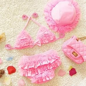 Baby Girl Bikini Lace 3 Pieces Bikini Set Cute Swimsuit with Hat  Size: L(Pink)