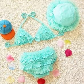 Baby Girl Bikini Lace 3 Pieces Bikini Set Cute Swimsuit with Hat  Size: L(Green)