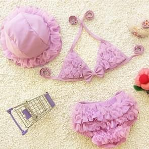 Baby Girl Bikini Lace 3 Pieces Bikini Set Cute Swimsuit with Hat  Size: L(Purple)