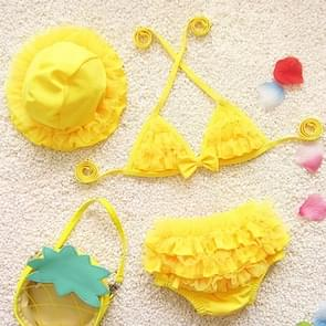 Baby Girl Bikini Lace 3 Pieces Bikini Set Cute Swimsuit with Hat  Size: L(Yellow)