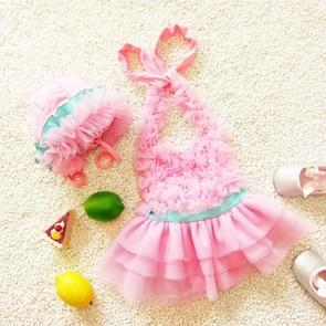 Baby Girl Princess Lace Bowknot Bikini Set Siamese Dress Cute Swimsuit with Hat  Size: L(Pink)
