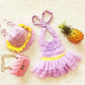 Baby Girl Princess Lace Bowknot Bikini Set Siamese Dress Cute Swimsuit with Hat  Size: L(Purple)