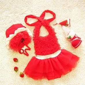 Baby Girl Princess Lace Bowknot Bikini Set Siamese Dress Cute Swimsuit with Hat  Size: L(Red)