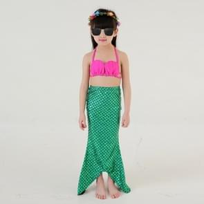 Girl Mermaid Tail 3 Pieces Swimmable Bikini Set Cute Swimsuit  Size: 110cm(Green)