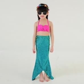 Meisje zeemeermin staart 3 stuks Swimmable Bikini instellen schattig badpak  grootte: 110cm(Blue)