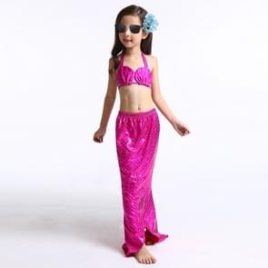 Girl Mermaid Tail 3 Pieces Swimmable Bikini Set Cute Swimsuit  Size: 110cm(Magenta)