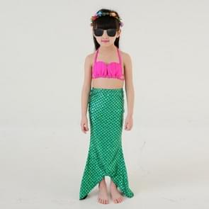 Girl Mermaid Tail 3 Pieces Swimmable Bikini Set Cute Swimsuit  Size: 120cm(Green)