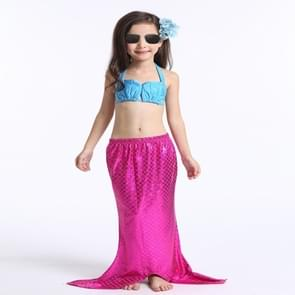 Girl Mermaid Tail 3 Pieces Swimmable Bikini Set Cute Swimsuit with Hat  Size: 130cm(Magenta)