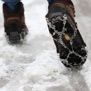 Ãén paar 19 tanden antislip ijs Gripper Wandelen klimmen ketting schoenen Covers(Black)