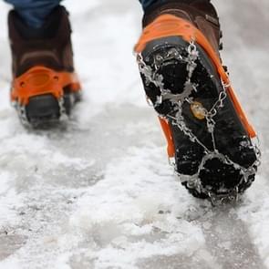 Één paar 19 tanden antislip ijs Gripper Wandelen klimmen ketting schoenen Covers(Orange)