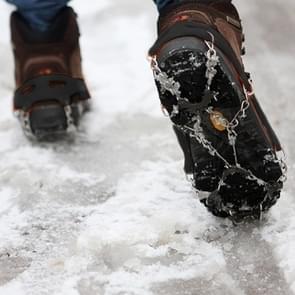 Ãén paar 8 tanden antislip ijs Gripper Wandelen klimmen ketting schoenen Covers(Black)
