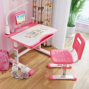 Multifunctionele hijs kunststof kinderen studie tafel en stoel set (roze)