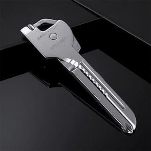 SWISS + TECH RVS 6 in 1 multi functie buiten sleutelhanger  opvouwbare Mini gereedschap sleutelhanger