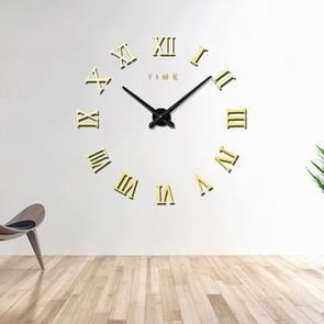 Slaapkamer huis decoratie frameless Romeinse cijfers grote DIY muur sticker Mute klok  grootte: 100 * 100cm (goud)