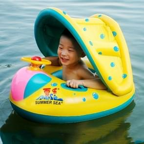 Inflatable Swimming Safety Seat Sunshade Boat Ring for Baby Children  Inflated Size: 72cm x 65cm x 58cm