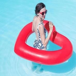 Love Heart Shaped Inflatable Floating Swimming Safety Pool Ring  Inflated Size: 120cm x 100cm (Red)