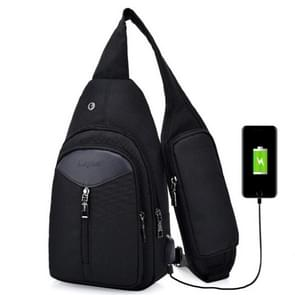 Portable Backpack Casual Outdoor Unisex Shoulder Bags Triangle Design Crossbody Bags Outdoor Sports Riding Shoulder Bag with External USB Charging Interface and Headphone Plug(Black)
