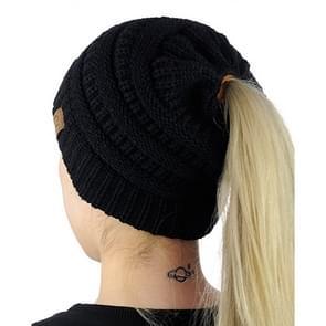 CC brief paardenstaart Cap muts breien voor Ladies(Black)