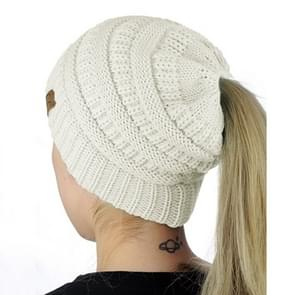 CC brief paardenstaart Cap muts breien voor Ladies(White)
