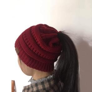 CC brief paardenstaart Cap muts breien voor dames (wijn rood)