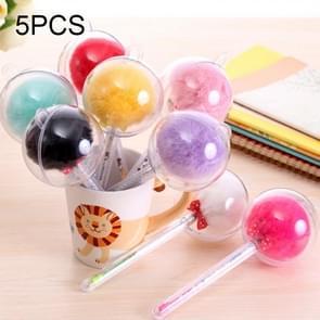 5 PCS Kawaii harige bal Gel Pen Roller Marker Pen  Tip grootte: 0 5 mm  willekeurige kleur