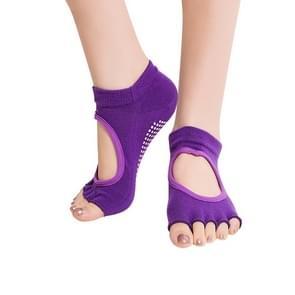 One Pair Open Toe Open Instep Anti-slip Sports Female Yoga Socks  Size: 34 - 39 (EUR) (Dark Purple)(Dark Purple)