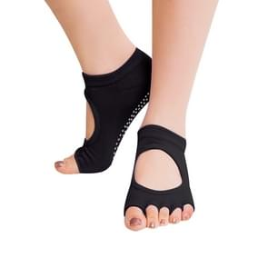 One Pair Open Toe Open Instep Anti-slip Sports Female Yoga Socks  Size: 34 - 39 (EUR)(Black)