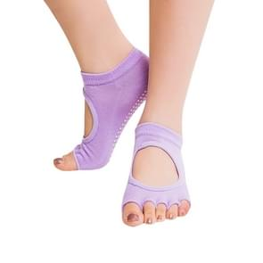 One Pair Open Toe Open Instep Anti-slip Sports Female Yoga Socks  Size: 34 - 39 (EUR) (Light Purple)