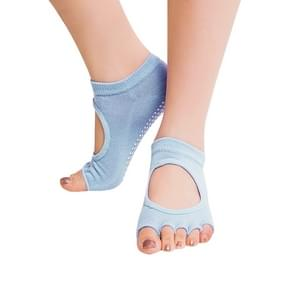 One Pair Open Toe Open Instep Anti-slip Sports Female Yoga Socks  Size: 34 - 39 (EUR) (Light Blue)