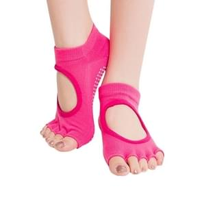 One Pair Open Toe Open Instep Anti-slip Sports Female Yoga Socks  Size: 34 - 39 (EUR)(Magenta)
