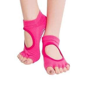 Een paar Open teen Open wreef antislip sport vrouwelijke Yoga sokken  grootte: 34-39 (EUR)(Magenta)