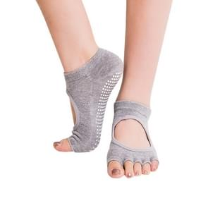 One Pair Open Toe Open Instep Anti-slip Sports Female Yoga Socks  Size: 34 - 39 (EUR) (Light Grey)
