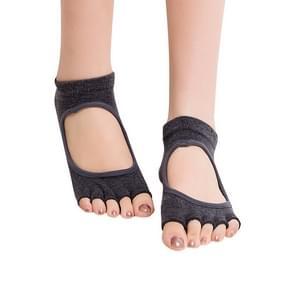 One Pair Open Toe Open Instep Anti-slip Sports Female Yoga Socks  Size: 34 - 39 (EUR) (Dark Grey)