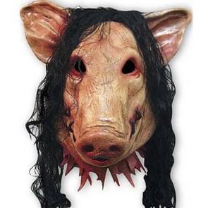 Halloween masker Latex varken hoofd Pet Halloween Festival partij Fancy varken Masquerade gezichtsmaskers met haar