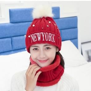 Winter New Style Wool Ladies Scarf Hat Suit  Color Matching Thick and Warm Wool Scarf Knitted Hat(Red)