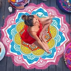 Microfiber Colorful Printed Tassel Lotus Summer Bath Towel Sand Beach Towel Shawl Scarf  Size: 150 x 150cm(Magenta+Blue)