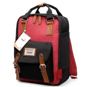 Fashion Casual Travel Backpack Laptop Bag Student Bag with Handle  Size: 38*28*15cm(Red+Black)