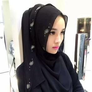 Fashion Pearl Chiffon Rhinestones Hidden Buckle Female Scarf Hui Nationality Folk Style Hijab Muslim Scarf(Black)