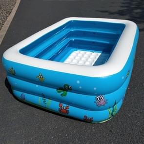 Household Children 1.1m Three Layers Rectangular Printing Inflatable Swimming Pool  Size: 110*90*46cm