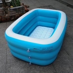 Household Children 1.5m Three Layers Blue and White Rectangular Printing Inflatable Swimming Pool  Size: 150*110*50cm