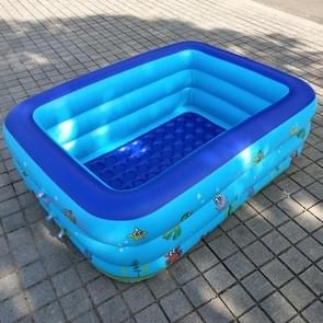 Household Children 1.3m Three Layers Rectangular Printing Inflatable Swimming Pool  Size: 130*90*48cm
