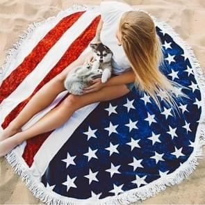 US Flag Pattern Tassel Round Summer Bath Towel Sand Beach Towel Shawl Scarf  Size: 150 x 150cm