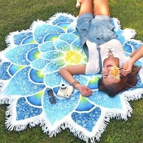 Polygon Gorgeous Tassel Lotus Summer Bath Towel Sand Beach Towel Shawl Scarf Yoga Mat  Size: 150 x 150cm(Blue)