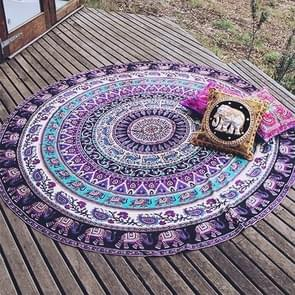 Printed Elephant and Flower Pattern Round Summer Bath Towel Sand Beach Towel Shawl Scarf  Size: 150 x 150cm