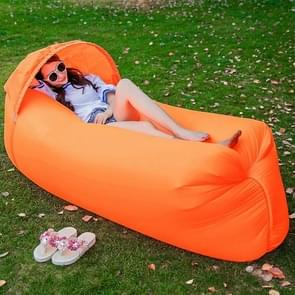 Inflatable Lounger 210D Fabric Compression Air Bag Sofa with Beach Sunshade for Beach / Travelling / Hospitality / Fishing  Size: 240cm x 70cm x 50cm(Orange)