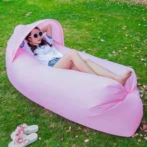Inflatable Lounger 210D Fabric Compression Air Bag Sofa with Beach Sunshade for Beach / Travelling / Hospitality / Fishing  Size: 240cm x 70cm x 50cm(Pink)