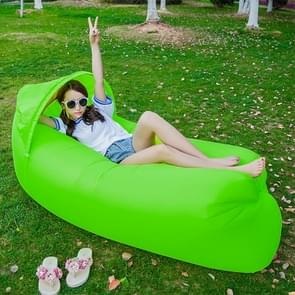 Inflatable Lounger 210D Fabric Compression Air Bag Sofa with Beach Sunshade for Beach / Travelling / Hospitality / Fishing  Size: 240cm x 70cm x 50cm(Green)
