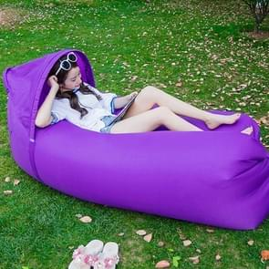 Inflatable Lounger 210D Fabric Compression Air Bag Sofa with Beach Sunshade for Beach / Travelling / Hospitality / Fishing  Size: 240cm x 70cm x 50cm(Purple)