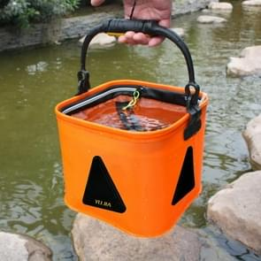 Multi-function Thickening Live Fish Bucket Foldable Waterproof Fishing Storage Bucket with Rope  Size: 24*24 cm  Random Color Delivery